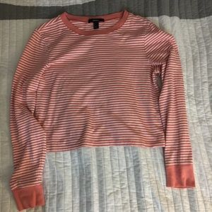 Long sleeve cropped pink striped tee